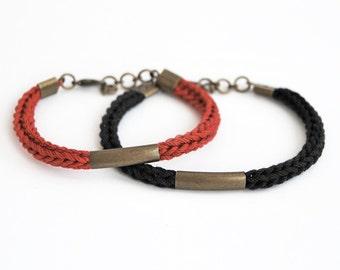 Couple bracelet set, black and red knit bracelet with antique tube, his her bracelet set, friendship bracelets