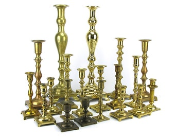 HUGE LOT 20 Vintage Brass Candlestick Candleholders - Tall Short Candlesticks Square Candle Holders Wedding Reception Decor - French Spindle