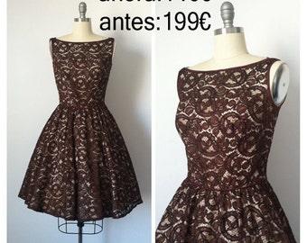 Vintage 1950 Lace Party Dress / Brown Lace 1950s Vintage Party Dress / Medium / Size 8
