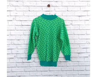 NEON PALMS - Blue and Green Neon Sweater | Blue Bird Sweater | Chevron Pull Over | Chevron Sweater | Neon Ugly Sweater | Boyfriend Sweater