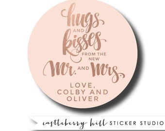 Hugs and kisses sticker, mr and mrs stickers, kisses favors, kisses wedding favor, kisses labels, kisses and hugs favor, welcome bag treat