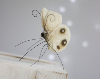Needle Felt Butterfly - Needle Felt White Butterfly - Home Decoration - Art Doll Butterfly - White Butterfly Decor - Summer Decoration