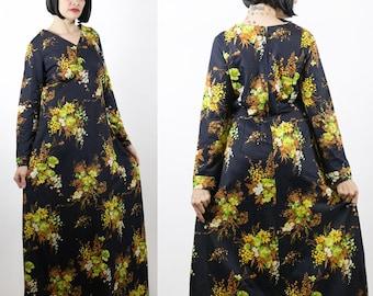 Vintage 1070s Black Floral Maxi Dress