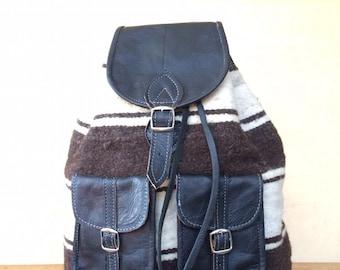 LEATHER and WOOL BACKPACK, 16 INCHEs, leather RUCKSACk, Hipster Backpack, rucksack leather, backpack leather, rücksack, lederrucksack