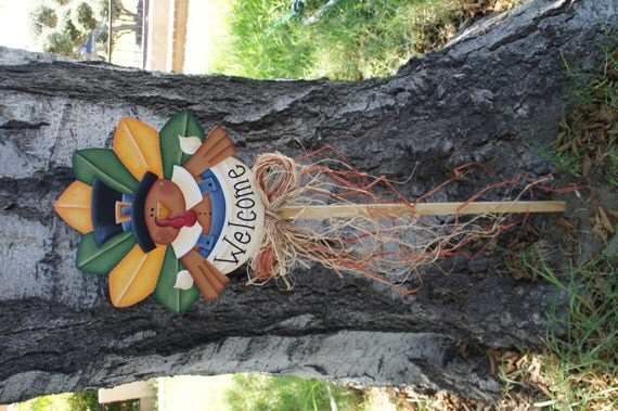 Thanksgiving turkey welcome sign yard art wood decoration