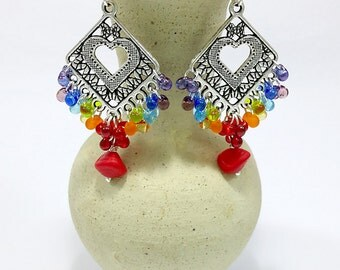 Colorful Earrings, Rainbow Earrings Czech Glass Confetti Drops chandelier Multicolor Jewelry