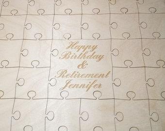 Birthday Puzzle Guest Book 32-400 Piece for Birthdays, Guest Book Puzzle, Guestbook puzzle, Rustic, Laser Engraved