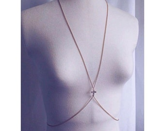 Fine Gold Cross Body Chain Beach Summer Jewelry Body Jewellery Grecian Style Boho CZ Crystal