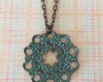Turquoise Necklace - Turquoise Jewelry - Turquoise Pendant - Flower Necklace - Flower Jewelry - Flower Pendant - Patina Jewelry - Virdigris
