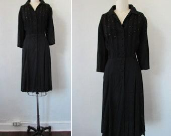 1940s black dress | vintage 40s dress | little black dress | 1940s black dress | medium - large | Stillness at Midnight Dress