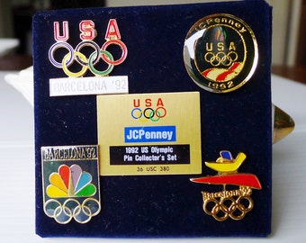 Olympic Pin Collection, Vintage 1992 US Olympic Pin Collector's Set, USA JCPenney 1992 Barcelona Olympics Hat Pin Jewelry Collection