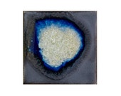 Geode Crackle Coaster: Ceramic Drink Coaster, Fused Glass Beverage Coaster, in TIN MAN