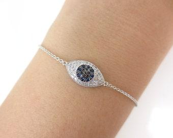 Diamond Against Evil Eye  Bracelet in Solid 18k White Gold
