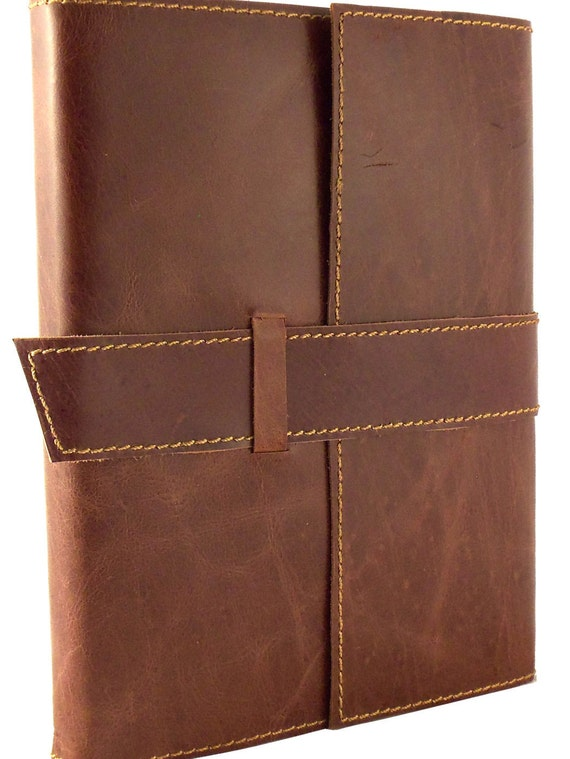 """Rustic Refillable Leather Travel Journal with Handmade Paper - 6"""" x 8"""" - Saddle Brown - Vintage Style Diary / Sketchbook - Genuine Leather"""
