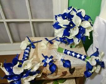 Royal Blue White Calla Lily Bridal Bouquet Wedding Flower 17 Piece Set, Royal Blue White Bouquet, Calla Lily Bouquet Blue