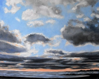 Original landscape painting, 16 X 20, oil on stretched canvas, Sunrise over Lake Huron, Ipperwash beach, Ontario