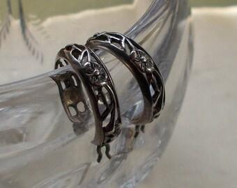 Small Sterling Silver Filigree Hoop Earrings  1980