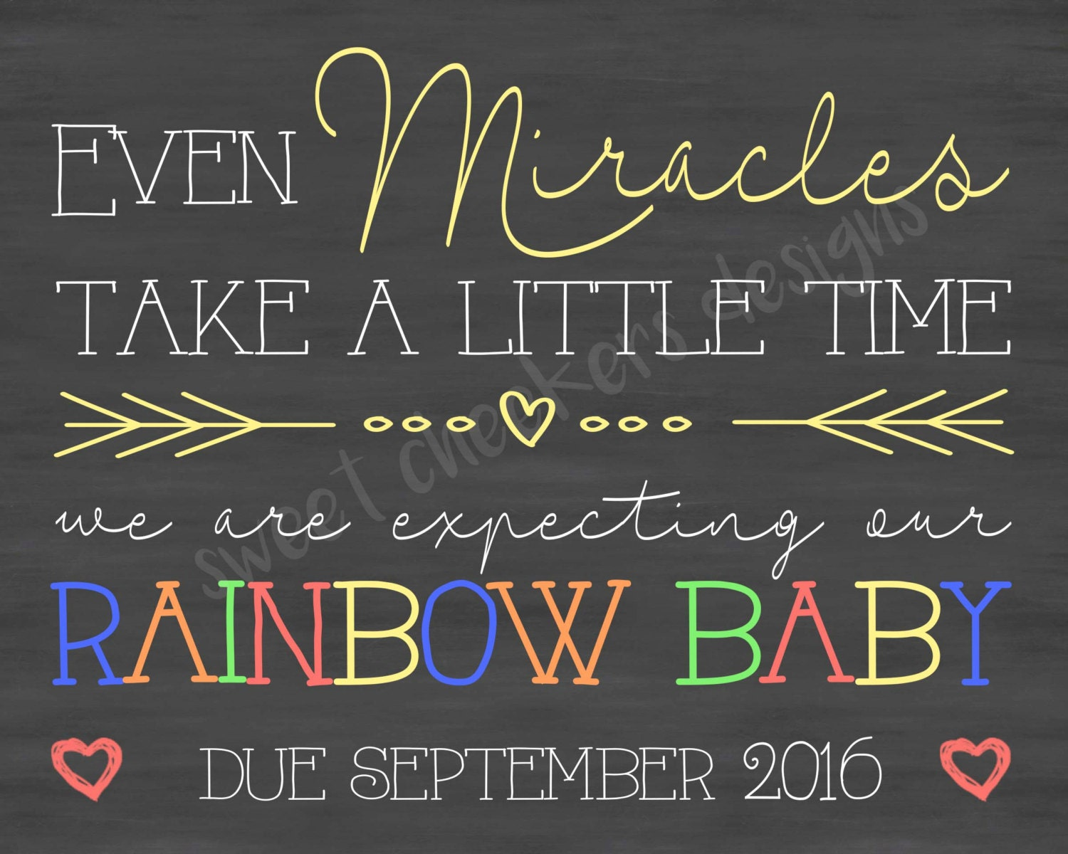Custom Rainbow Baby Pregnancy Announcement By