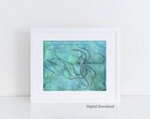 Nautical Home Decor - Digital Download - Printable Watercolor painting -  Squid decor -  Teal Home Decor - sea creature art - Squid Art