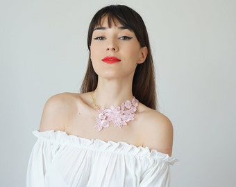 Pink Lace Necklace Statement Necklace Gold Necklace / VALENTINO