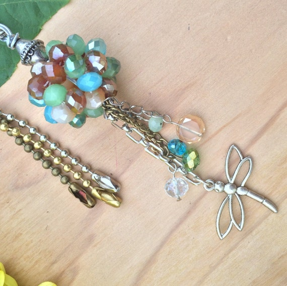 Dragonfly Ceiling Fan Pull Multi Color Crystal Light Pull