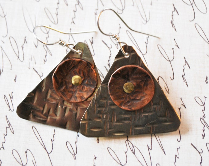 Mixed metal Copper and silver nickel dangling earrings, hammered metal earrings, rustic earrings, artisan earrings
