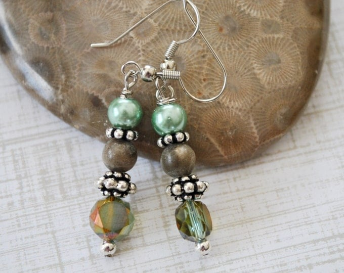 Petoskey stone nugget earrings with green crystals and pearls, Lake Michigan, Up North jewelry