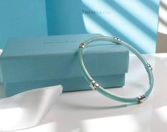 Tiffany & Co. Signature X Blue Enamel Bangle RARE Classic
