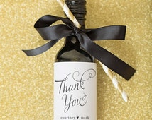 Mini Wine Bottle Label Wedding Favors \\ Thank You Script
