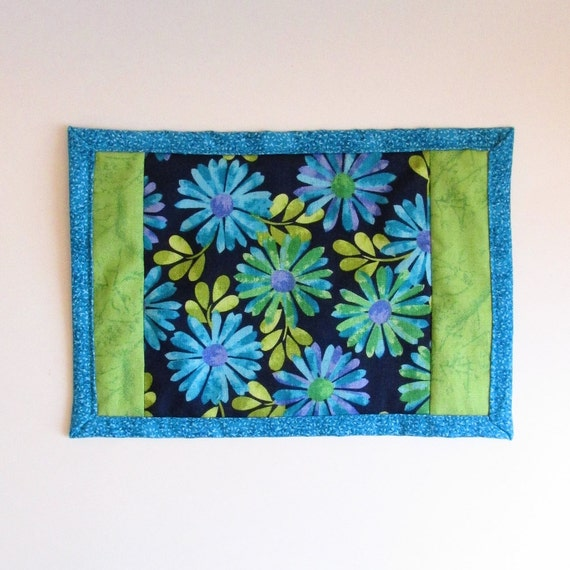 Purple Turquoise Rag Rug: Daisy Mug Rug Navy Turquoise Purple And Bright Green Mini