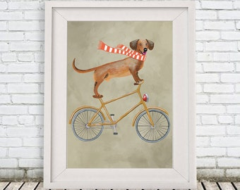 Daschund Print, daschund Illustration Art Poster Acrylic Painting Kids Decor Drawing Gift, Dog on bicycle, bicycle print