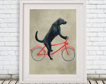 Labrador Print, labrador Illustration Art Poster Acrylic Painting Kids Decor Drawing Gift, Dog on bicycle, bicycle print