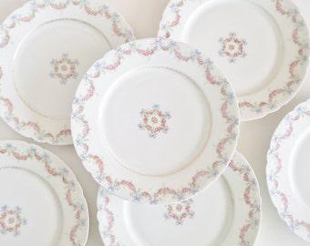 JEAN POUYAT LIMOGES Antique Porcelain Plates Set of 6