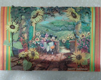 Gorgeous Large 3D Disney *Mickey and Minnie Mouse* Handmade Birthday Card by Christine with matching envelope and gift tag