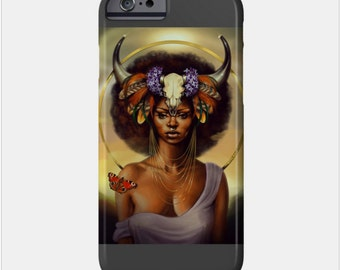 Taurus iPhone Case African American Goddess Black Girl Magic Afrofuturism by Sheeba Maya