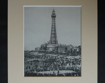 British Seaside Print of Blackpool Tower, Available Framed, Beach Art, Victorian Holiday Gift, Historical Vacation Art, Summer Photography