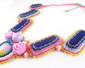 Necklace, Bead Embroidery