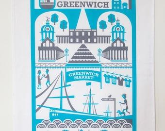 Greenwich tea towel / London illustration