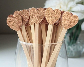 Wedding Drink Stirrers, Cocktail Stirrers, Bridal Shower, Engagement Party, Signature Drinks, Heart, Glitter (Set of 24)