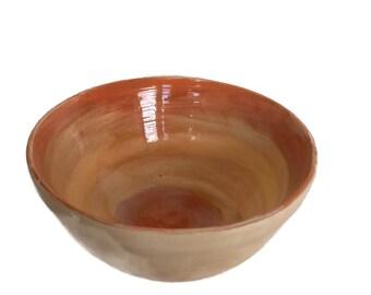 Ceramic bowl, orange bowl, mixing bowl, salad bowl, pasta bowl, handmade bowl, pottery bowl, exclusive bowl, hand painted earthenware bowl