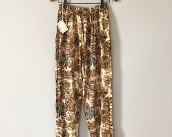 safari pants | 90s slouch rayon drawstring pants