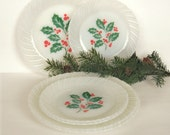 6 Vintage 1960's Termocrisa Mexico Milk Glass Christmas Holly Berry Plates