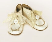 Vintage Baby Shoes Upcycled with Lace and Vintage buttons