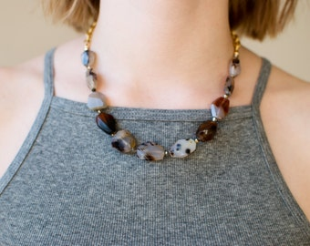Montana Moss Agate & Swarovski Crystals Necklace on Vintage Chain