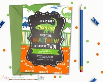 Dinosaur Birthday Invitation, Dinosaur Birthday Party, Chalkboard Birthday Invitation, Chalkboard Dinosaur Invitation