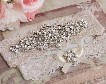 Wedding Garter Set, Ivory Bridal Garter Set, Ivory Lace Garter, Lace Wedding Garter,  Ivory or White Garter Set, Personalized Garter