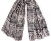Grey and Black silk scarf, hand printed primitive original pattern  by Dikla Levsky