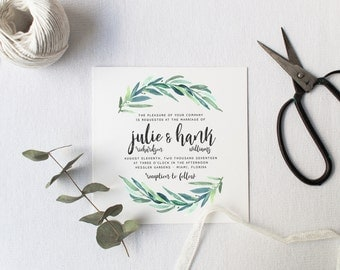 Greenery Wedding Invitation Suite DEPOSIT, DIY, Rustic, Calligraphy, Bohemian, Boho, Garden, Custom, Watercolor Foliage (Wedding Design #78)