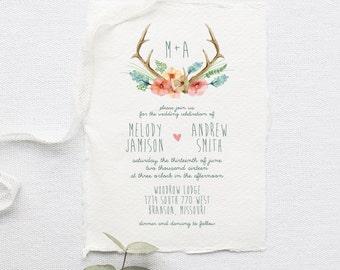 Bohemian Wedding Invitation Suite DEPOSIT - DIY, Rustic, Watercolor Antlers, Forest, Deckled Edge, Floral, Boho Chic (Wedding Design #48)