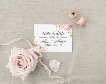 Save the Date DEPOSIT - Printable, Custom, DIY, Modern, Watercolor, Painted, Boho, Floral, Flowers, Calligraphy, Rustic, Chic (Design #51)